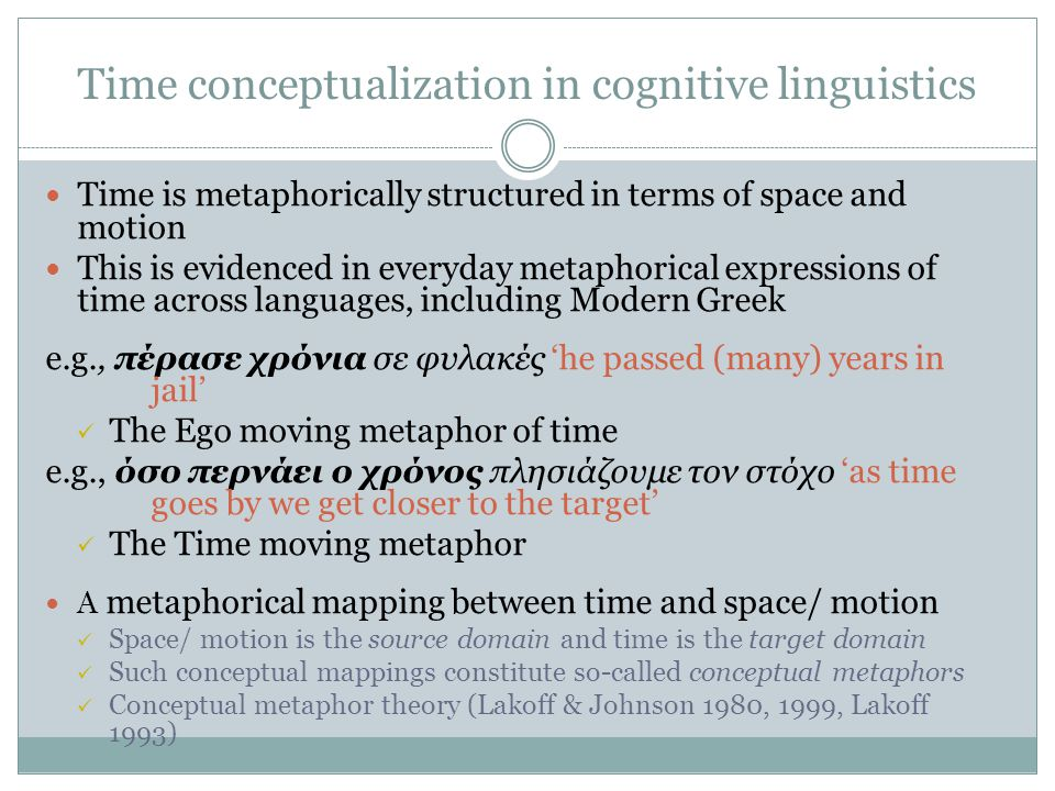 Time conceptualization in cognitive linguistics Time is metaphorically structured in terms of space and motion This is evidenced in everyday metaphorical expressions of time across languages, including Modern Greek e.g., πέρασε χρόνια σε φυλακές he passed (many) years in jail The Ego moving metaphor of time e.g., όσο περνάει ο χρόνος πλησιάζουμε τον στόχο as time goes by we get closer to the target The Time moving metaphor A metaphorical mapping between time and space/ motion Space/ motion is the source domain and time is the target domain Such conceptual mappings constitute so-called conceptual metaphors Conceptual metaphor theory (Lakoff & Johnson 1980, 1999, Lakoff 1993)
