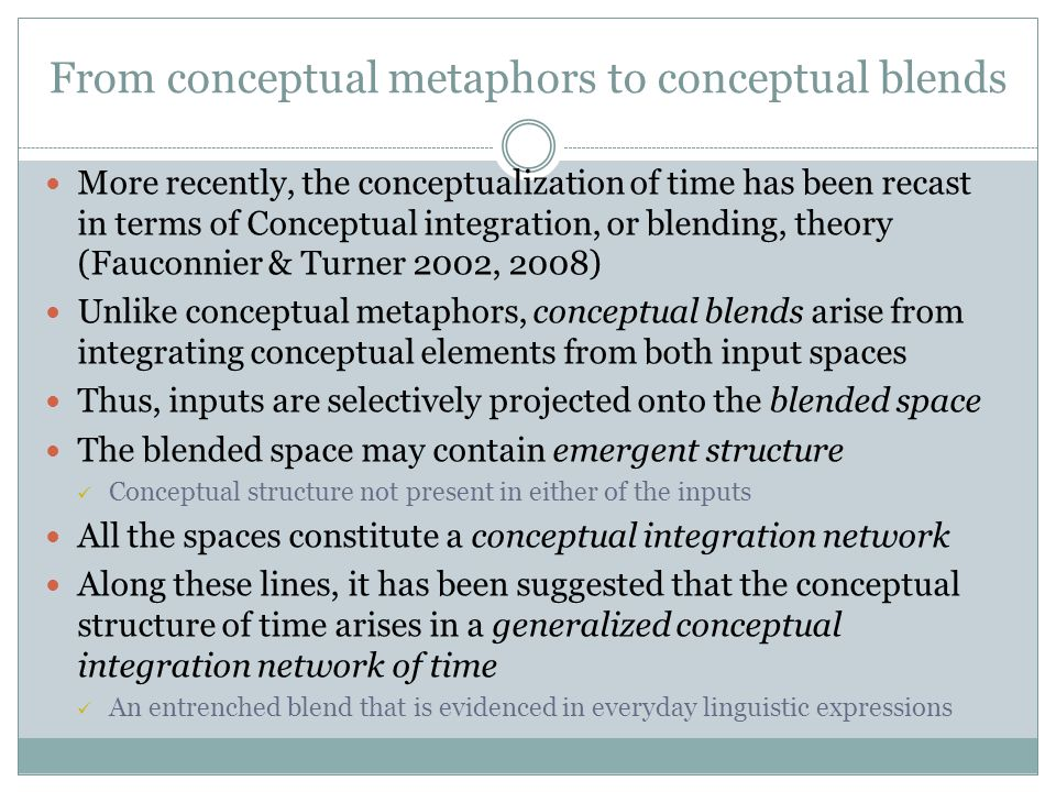 From conceptual metaphors to conceptual blends More recently, the conceptualization of time has been recast in terms of Conceptual integration, or blending, theory (Fauconnier & Turner 2002, 2008) Unlike conceptual metaphors, conceptual blends arise from integrating conceptual elements from both input spaces Thus, inputs are selectively projected onto the blended space The blended space may contain emergent structure Conceptual structure not present in either of the inputs All the spaces constitute a conceptual integration network Along these lines, it has been suggested that the conceptual structure of time arises in a generalized conceptual integration network of time An entrenched blend that is evidenced in everyday linguistic expressions