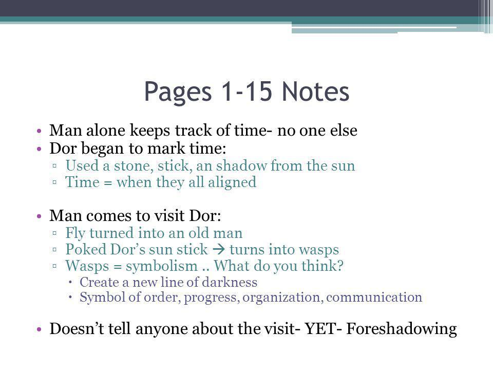 Pages 1-15 Notes Man alone keeps track of time- no one else Dor began to mark time: Used a stone, stick, an shadow from the sun Time = when they all a