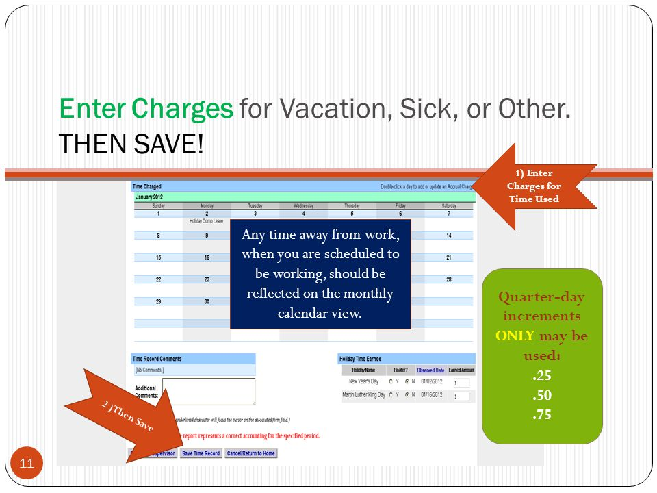 Enter Charges for Vacation, Sick, or Other.THEN SAVE.