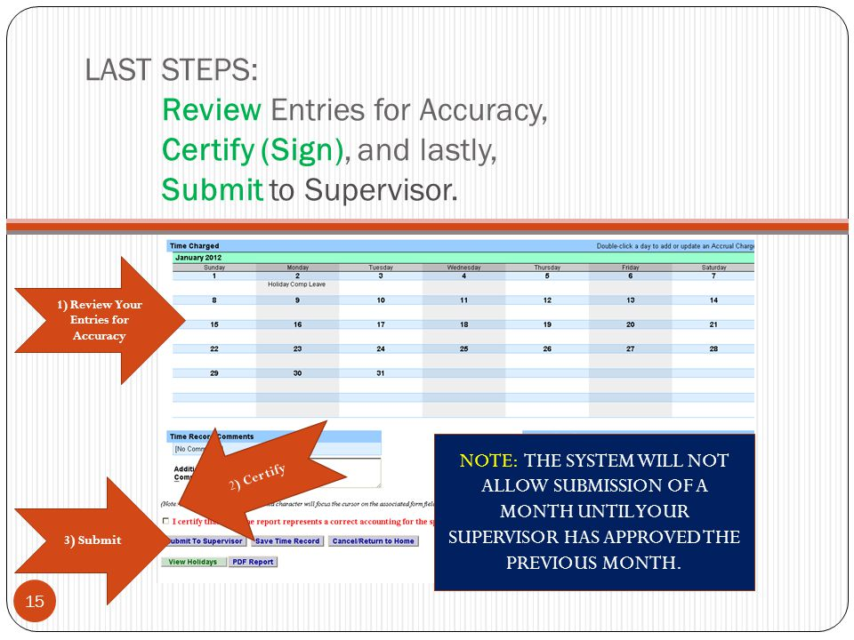 LAST STEPS: Review Entries for Accuracy, Certify (Sign), and lastly, Submit to Supervisor. 3 ) Submit 2) Certify 15 1) Review Your Entries for Accurac