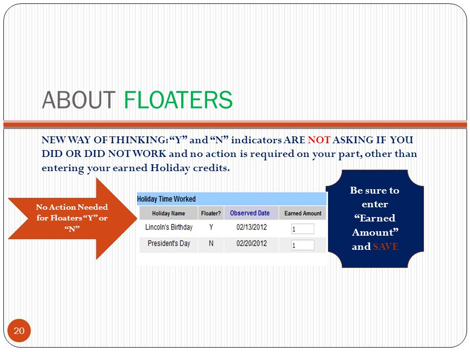 ABOUT FLOATERS NEW WAY OF THINKING: Y and N indicators ARE NOT ASKING IF YOU DID OR DID NOT WORK and no action is required on your part, other than entering your earned Holiday credits.