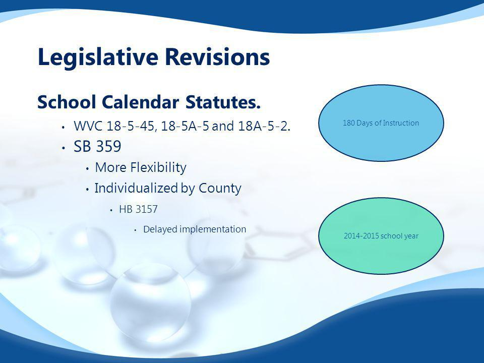 Legislative Revisions School Calendar Statutes. WVC 18-5-45, 18-5A-5 and 18A-5-2. SB 359 More Flexibility Individualized by County HB 3157 Delayed imp