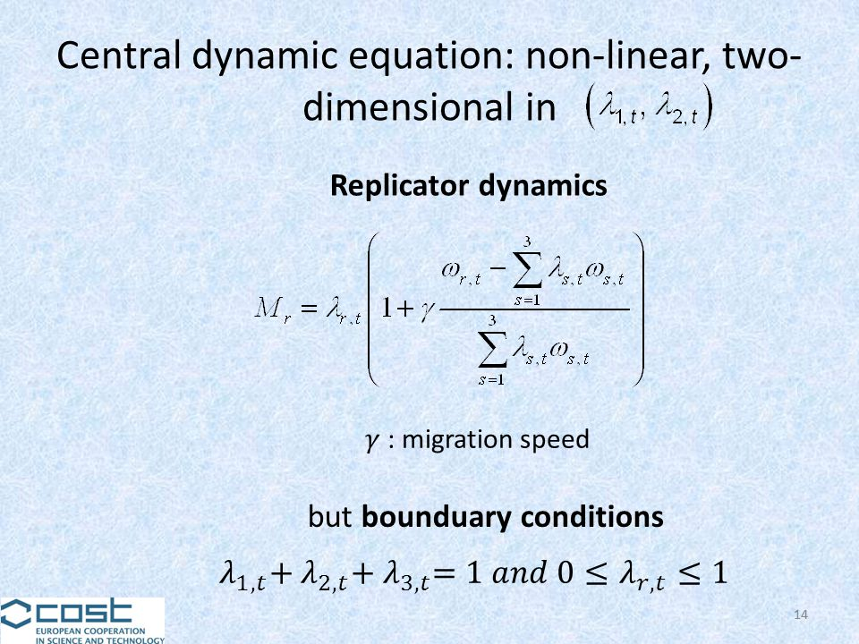 14 Central dynamic equation: non-linear, two- dimensional in 14 Replicator dynamics but bounduary conditions
