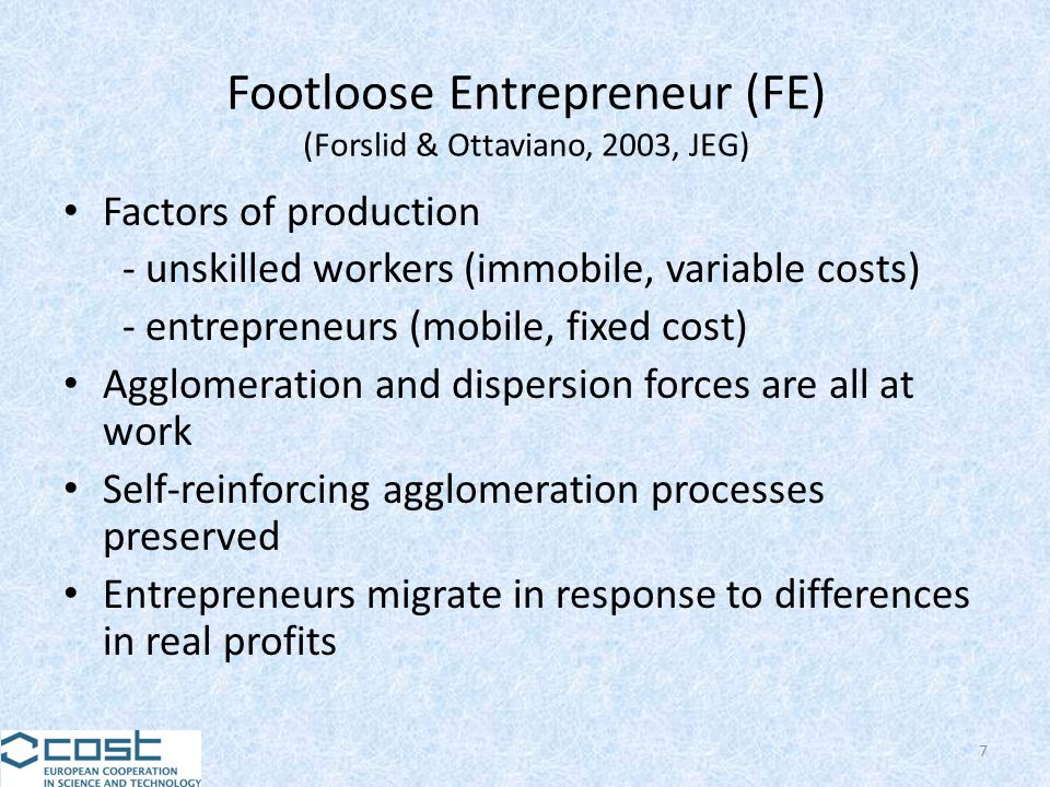 Footloose Entrepreneur (FE) (Forslid & Ottaviano, 2003, JEG) Factors of production - unskilled workers (immobile, variable costs) - entrepreneurs (mob