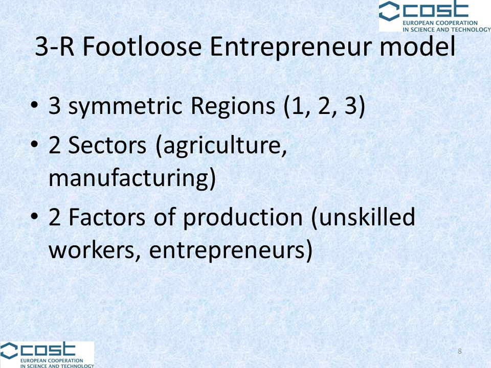 3-R Footloose Entrepreneur model 3 symmetric Regions (1, 2, 3) 2 Sectors (agriculture, manufacturing) 2 Factors of production (unskilled workers, entr