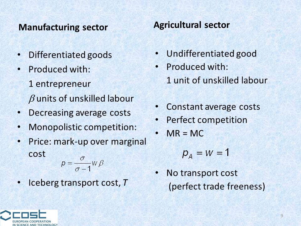Manufacturing sector Differentiated goods Produced with: 1 entrepreneur units of unskilled labour Decreasing average costs Monopolistic competition: P