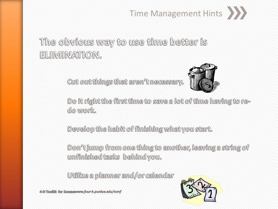 Time Management Hints