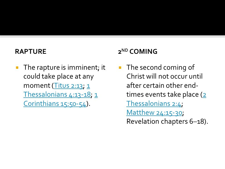 RAPTURE The rapture is imminent; it could take place at any moment (Titus 2:13; 1 Thessalonians 4:13-18; 1 Corinthians 15:50-54).Titus 2:131 Thessalonians 4:13-181 Corinthians 15:50-54 2 ND COMING The second coming of Christ will not occur until after certain other end- times events take place (2 Thessalonians 2:4; Matthew 24:15-30; Revelation chapters 6–18).2 Thessalonians 2:4 Matthew 24:15-30