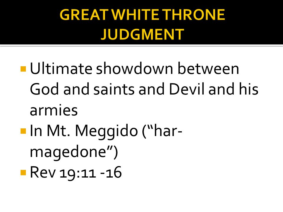 Ultimate showdown between God and saints and Devil and his armies In Mt.