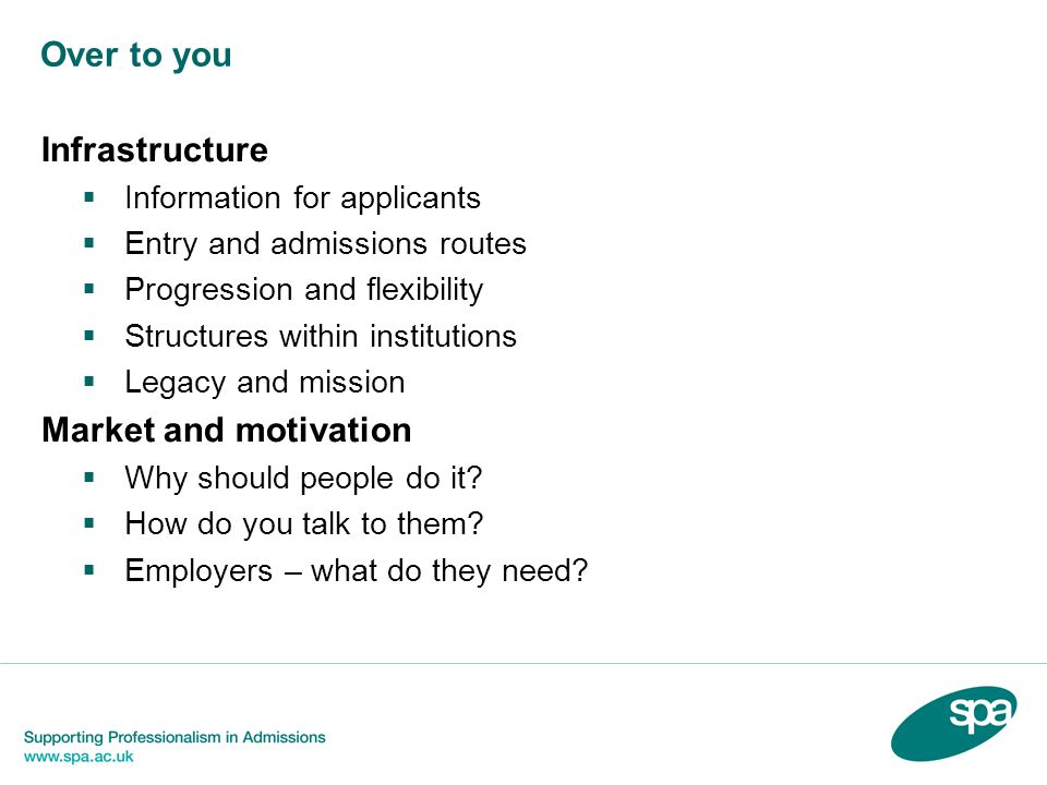 Over to you Infrastructure Information for applicants Entry and admissions routes Progression and flexibility Structures within institutions Legacy and mission Market and motivation Why should people do it.