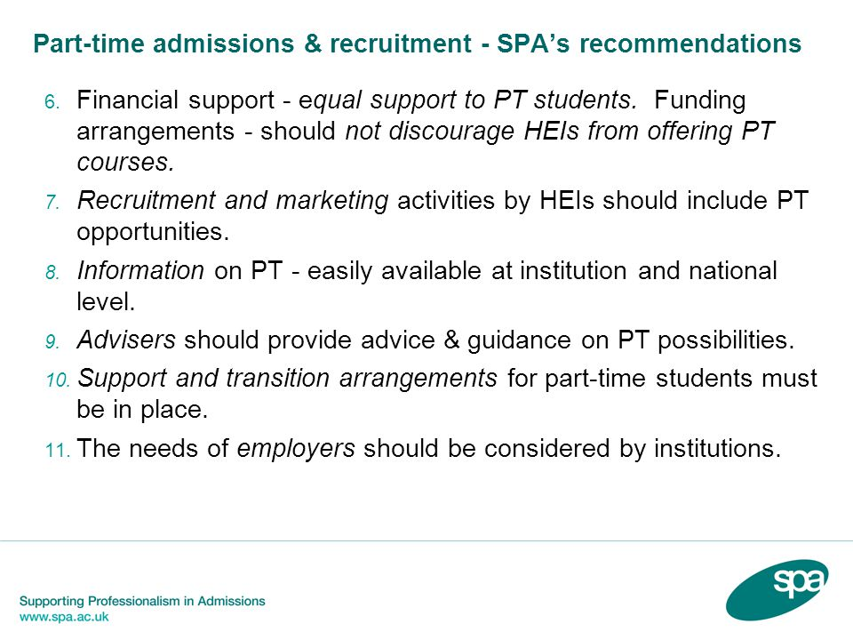 Part-time admissions & recruitment - SPAs recommendations 6.