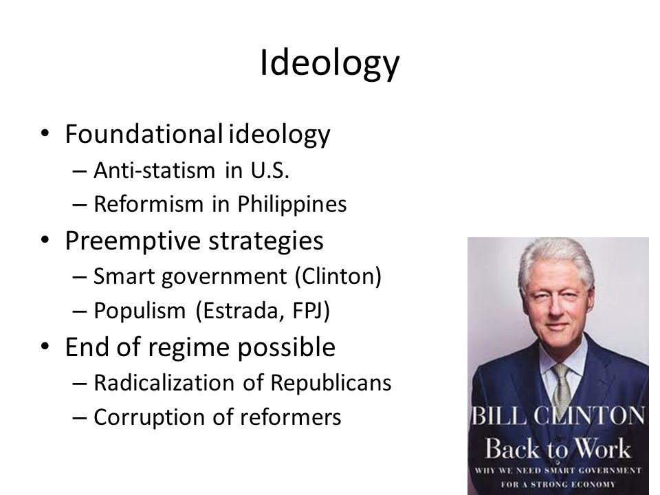 Ideology Foundational ideology – Anti-statism in U.S.