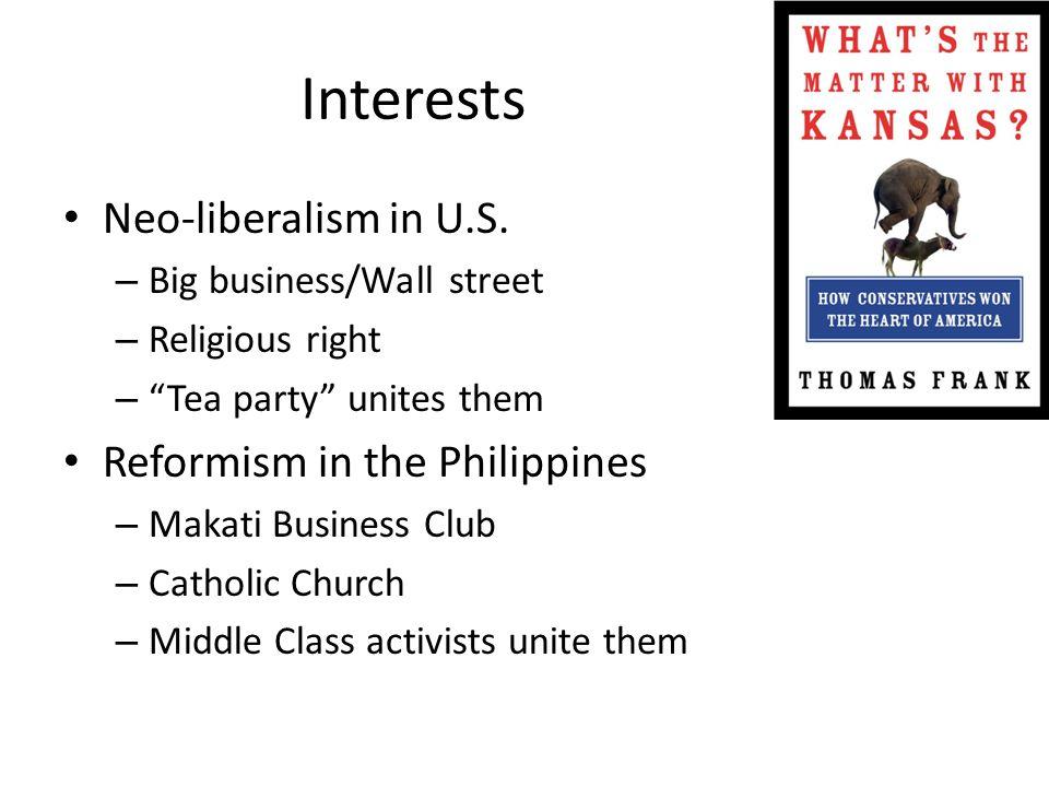 Interests Neo-liberalism in U.S.