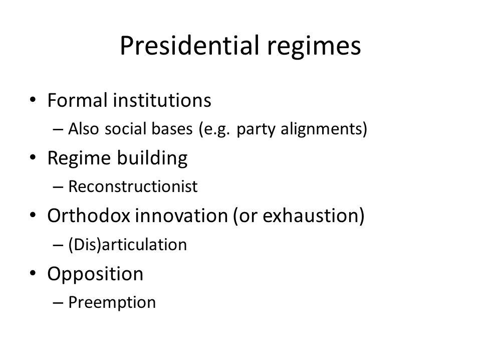 Presidential regimes Formal institutions – Also social bases (e.g.