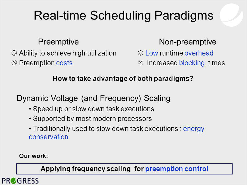 Real-time Scheduling Paradigms Non-preemptive Low runtime overhead Increased blocking times Preemptive Ability to achieve high utilization Preemption costs How to take advantage of both paradigms.