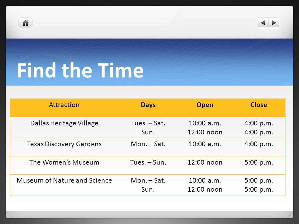 Find the Time AttractionDaysOpenClose Dallas Heritage VillageTues.