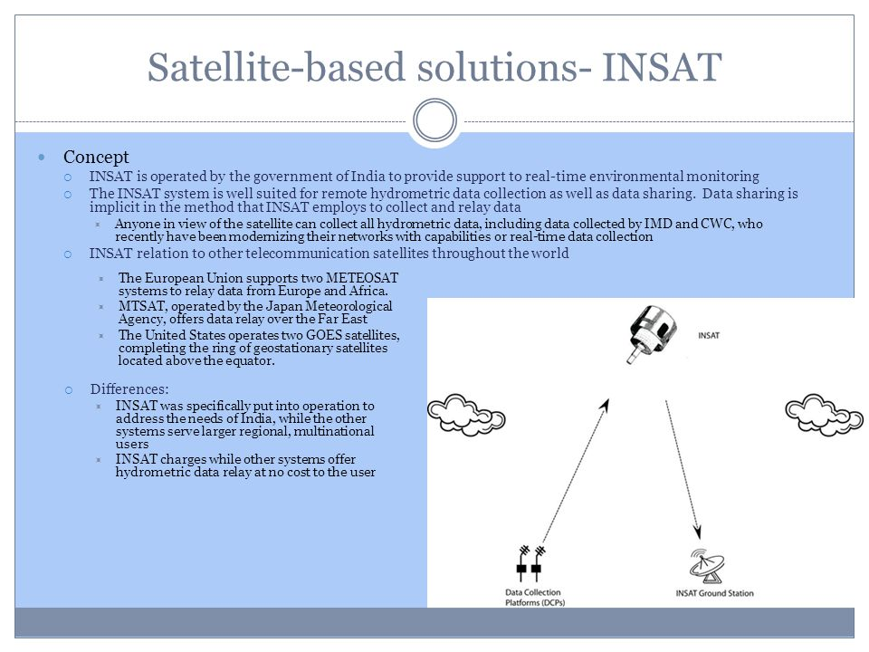 Satellite-based solutions- INSAT Concept INSAT is operated by the government of India to provide support to real-time environmental monitoring The INS