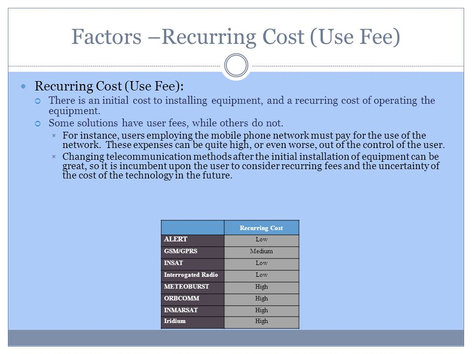 Factors –Recurring Cost (Use Fee) Recurring Cost (Use Fee): There is an initial cost to installing equipment, and a recurring cost of operating the eq