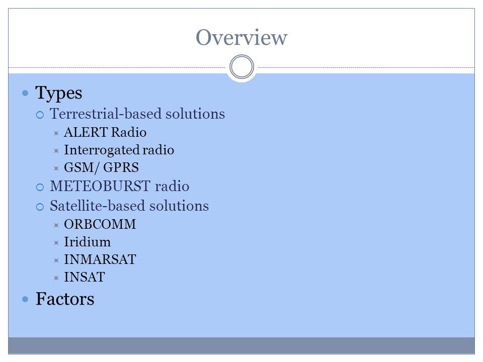 Overview Types Terrestrial-based solutions ALERT Radio Interrogated radio GSM/ GPRS METEOBURST radio Satellite-based solutions ORBCOMM Iridium INMARSA