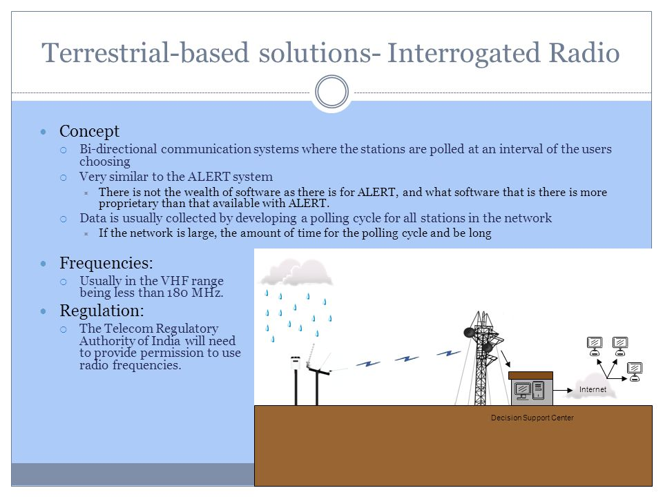 Terrestrial-based solutions- Interrogated Radio Concept Bi-directional communication systems where the stations are polled at an interval of the users