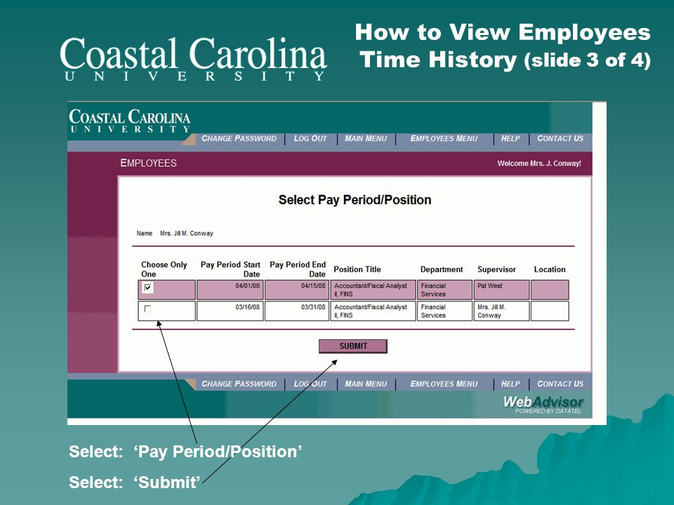 How to View Employees Time History (slide 3 of 4) Select: Pay Period/Position Select: Submit