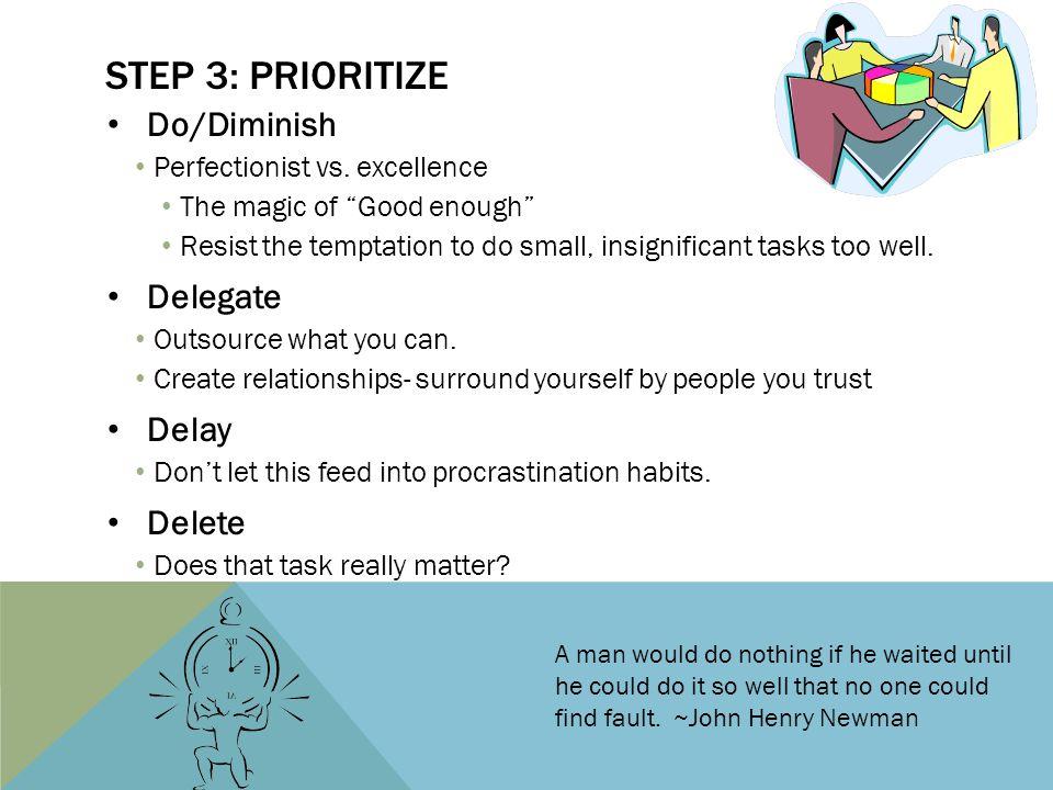 STEP 3: PRIORITIZE Do/Diminish Perfectionist vs.
