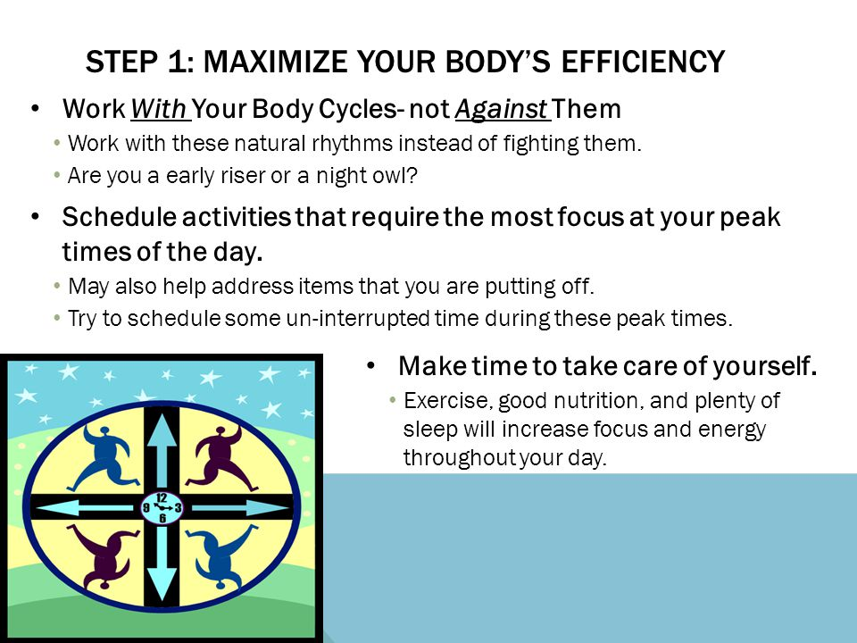Work With Your Body Cycles- not Against Them Work with these natural rhythms instead of fighting them. Are you a early riser or a night owl? Schedule
