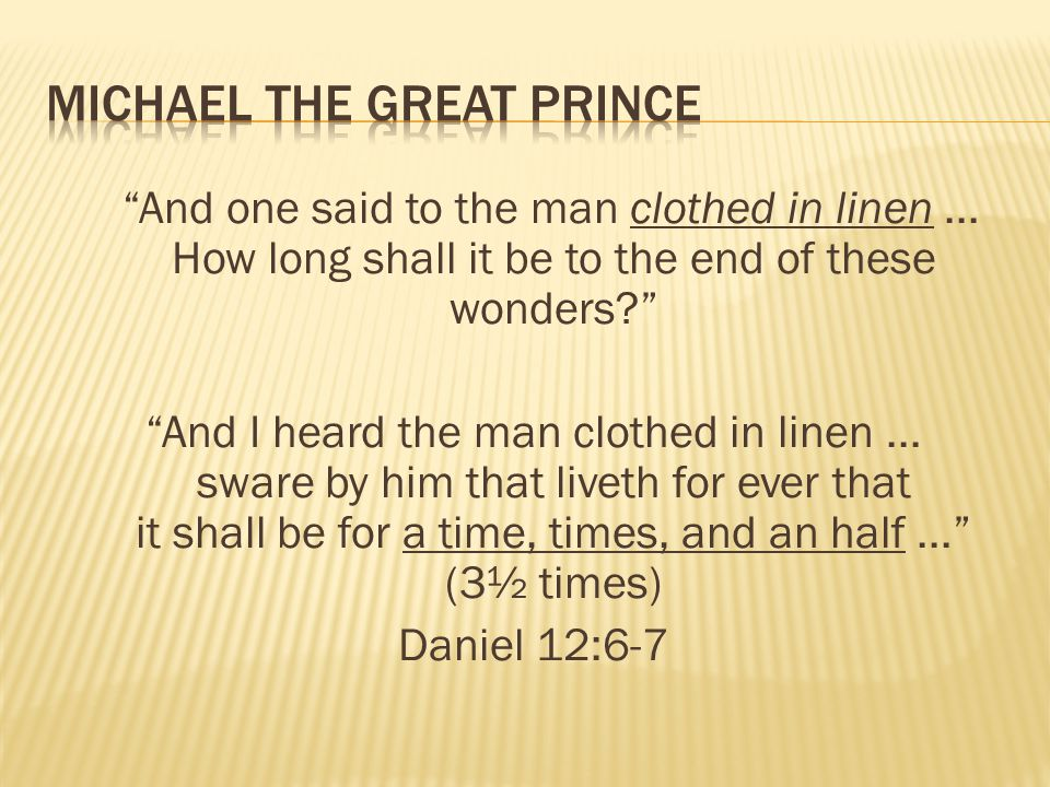 And one said to the man clothed in linen... How long shall it be to the end of these wonders? And I heard the man clothed in linen... sware by him tha