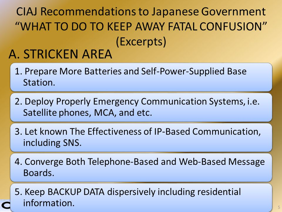 CIAJ Recommendations to Japanese Government WHAT TO DO TO KEEP AWAY FATAL CONFUSION (Excerpts) A.