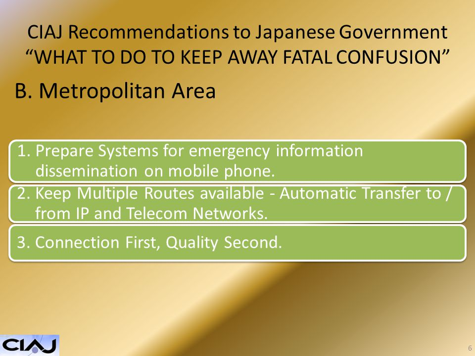 CIAJ Recommendations to Japanese Government WHAT TO DO TO KEEP AWAY FATAL CONFUSION B.