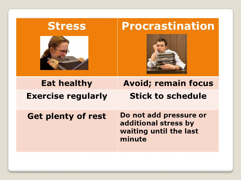 StressProcrastination Eat healthyAvoid; remain focus Exercise regularlyStick to schedule Get plenty of rest Do not add pressure or additional stress b
