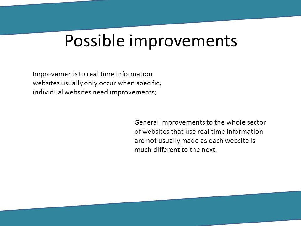 Possible improvements Improvements to real time information websites usually only occur when specific, individual websites need improvements; General