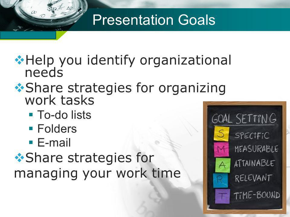 Company name Presentation Goals Help you identify organizational needs Share strategies for organizing work tasks To-do lists Folders E-mail Share strategies for managing your work time