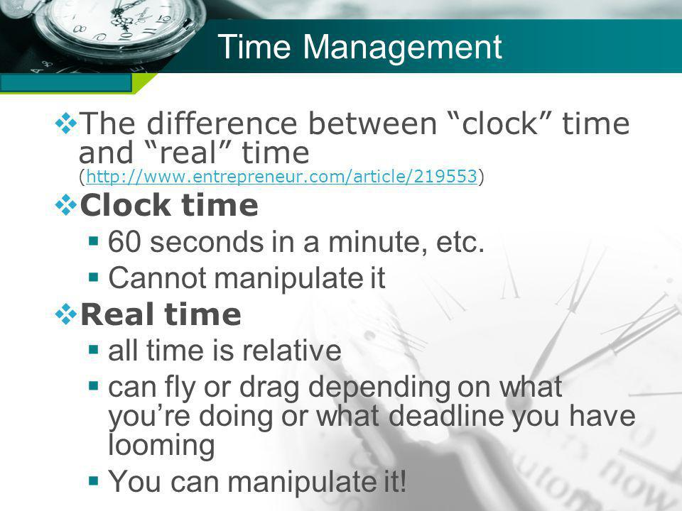 Company name Time Management The difference between clock time and real time (http://www.entrepreneur.com/article/219553)http://www.entrepreneur.com/article/219553 Clock time 60 seconds in a minute, etc.