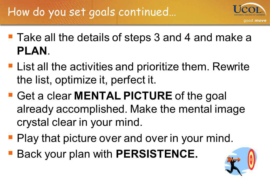 How do you set goals continued… Take all the details of steps 3 and 4 and make a PLAN. List all the activities and prioritize them. Rewrite the list,