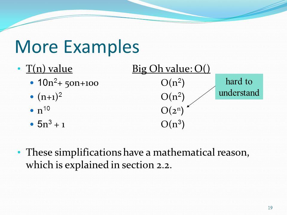 More Examples T(n) valueBig Oh value: O() 10n 2 + 50n+100 O(n 2 ) (n+1) 2 O(n 2 ) n 10 O(2 n ) 5n 3 + 1 O(n 3 ) These simplifications have a mathemati