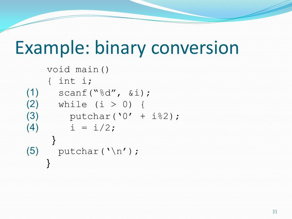 Example: binary conversion void main() { int i; (1) scanf(%d, &i); (2) while (i > 0) { (3) putchar(0 + i%2); (4) i = i/2; } (5) putchar(\n); } 31