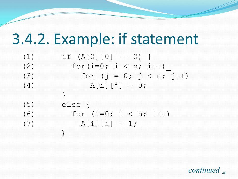 3.4.2. Example: if statement (1)if (A[0][0] == 0) { (2) for(i=0; i < n; i++)_ (3) for (j = 0; j < n; j++) (4) A[i][j] = 0; } (5)else { (6) for (i=0; i