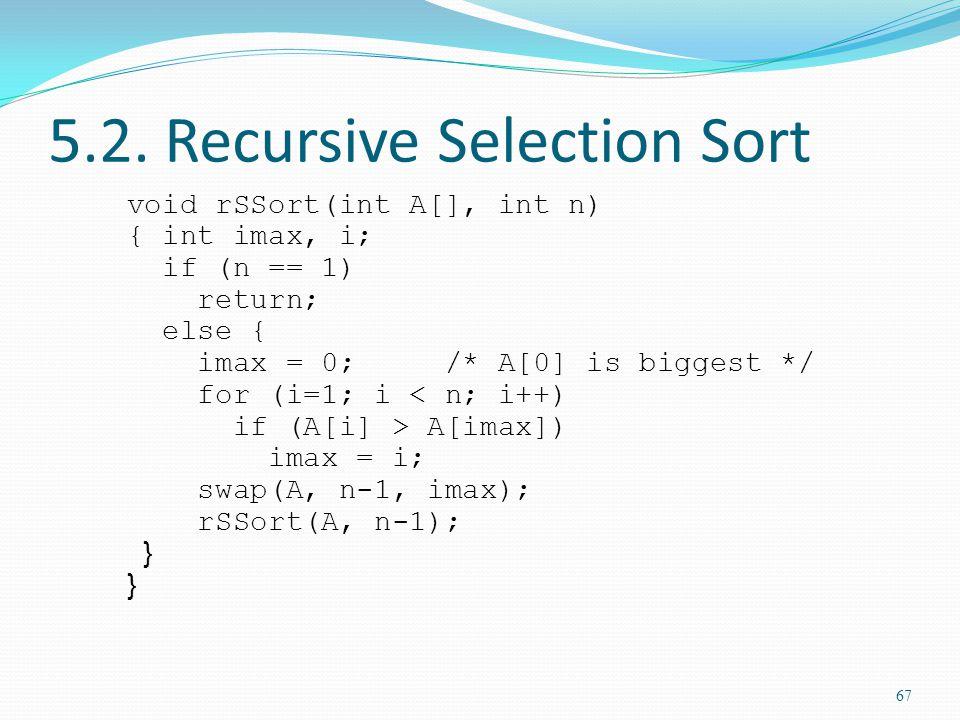 5.2. Recursive Selection Sort void rSSort(int A[], int n) { int imax, i; if (n == 1) return; else { imax = 0; /* A[0] is biggest */ for (i=1; i A[imax
