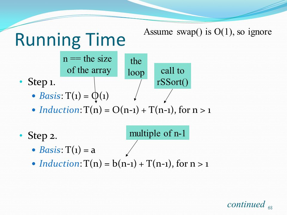 Running Time Step 1. Basis: T(1) = O(1) Induction: T(n) = O(n-1) + T(n-1), for n > 1 Step 2. Basis: T(1) = a Induction: T(n) = b(n-1) + T(n-1), for n
