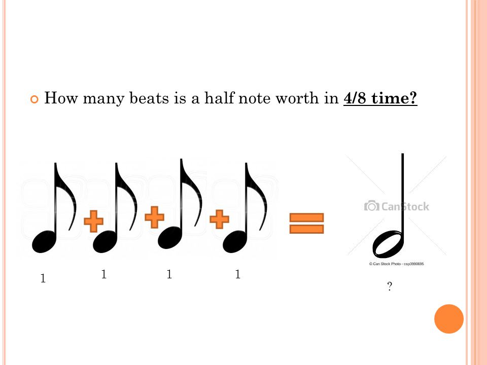 How many beats is a half note worth in 4/8 time 1 1 1 1