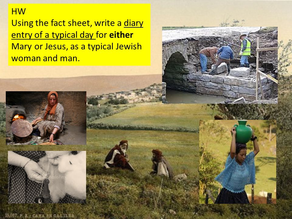 HW Using the fact sheet, write a diary entry of a typical day for either Mary or Jesus, as a typical Jewish woman and man.
