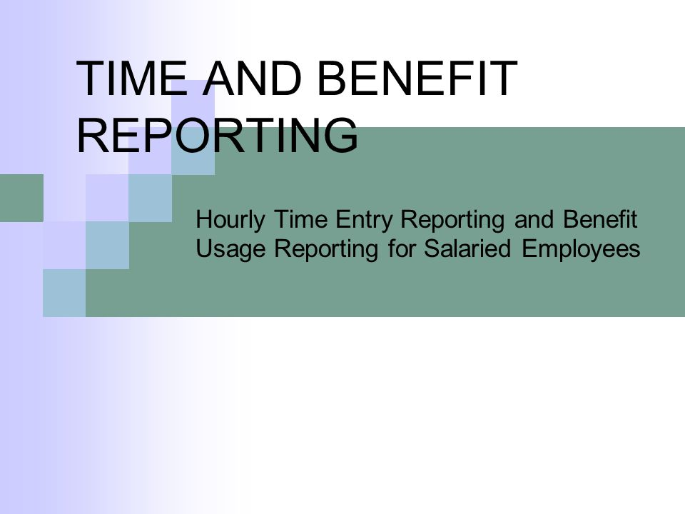 TIME AND BENEFIT REPORTING Hourly Time Entry Reporting and Benefit Usage Reporting for Salaried Employees