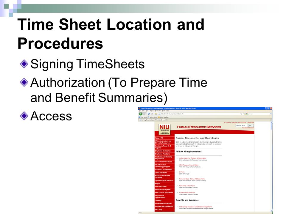 Time Sheet Location and Procedures Signing TimeSheets Authorization (To Prepare Time and Benefit Summaries) Access