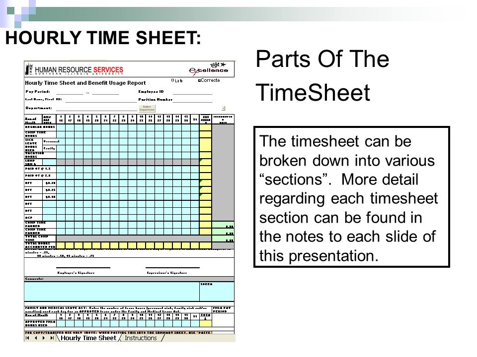 The timesheet can be broken down into various sections.