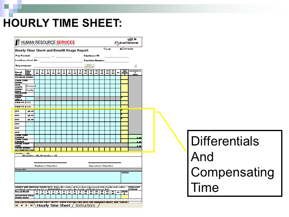 HOURLY TIME SHEET: Differentials And Compensating Time