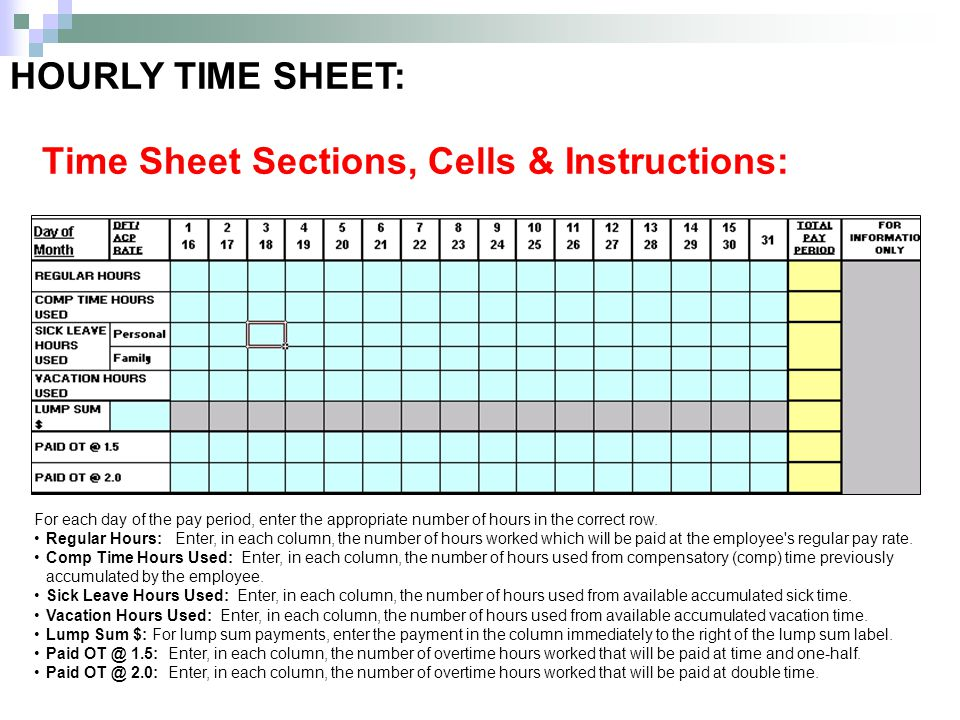 HOURLY TIME SHEET: For each day of the pay period, enter the appropriate number of hours in the correct row.