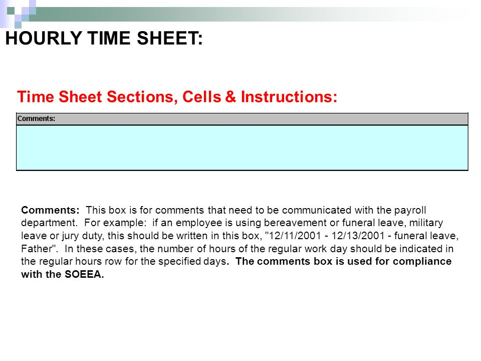 HOURLY TIME SHEET: Time Sheet Sections, Cells & Instructions: Comments: This box is for comments that need to be communicated with the payroll departm