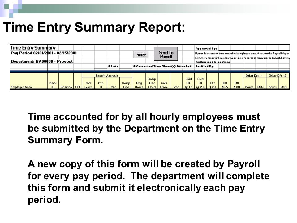 Time accounted for by all hourly employees must be submitted by the Department on the Time Entry Summary Form.